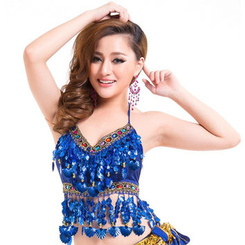 Women Belly Dance Costumes Bra Tops Crystal Sequins Beads Bells Sexy Vest SM6