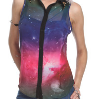 Galaxy Button-Up Sleeveless Top | Hot Topic