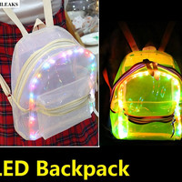 new mini beach waterproof LED light transparent backpack fashion travel