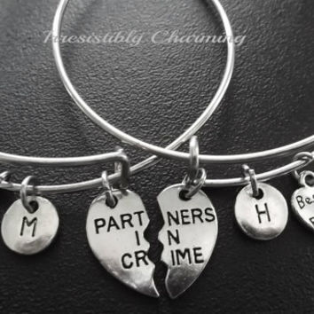 Partners in crime, two bestfriends charm bracelet, Stainless Steel Expandable Bangle, monogram personalized item No.727