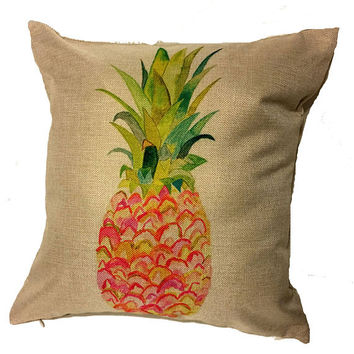 Pineapple Pillow 17 x 17 Pink Pineapple Hawaii Cotton Linen