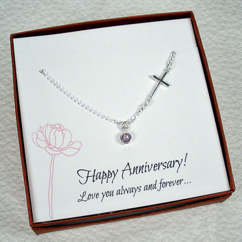 Anniversary Gift for Her - Sideways Cross Gemstone Necklace, Sterling Silver