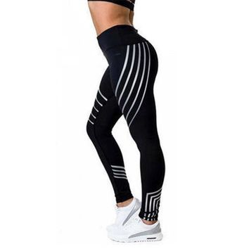 Summer High Waist Yoga Pants Women Printing Striped Fitness Sport Pants Femme Running Ankle-Length Pants Yoga Gym Plus Size XL