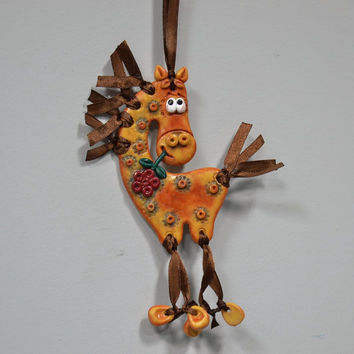 Unusual interior handmade wall pendant Horse made of polymer clay fine gift