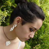 Fake gauge,White Bone ,Split Gauge Earrings ,Fancy Craved Feather