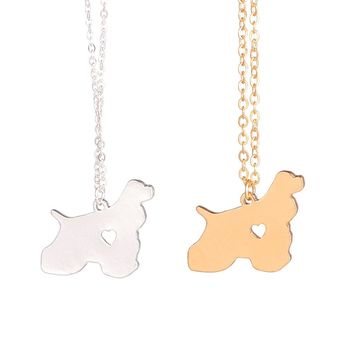 Gold or Silver 1pc Cocker Spaniel Pendant Necklace
