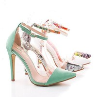 Olga1E Multi Patent By Liliana, Pointy Toe Lucite Clear Ankle Strap Stiletto High Heel Women Pump