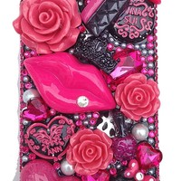 BIG BLING HOT PINK 3d Handmade Crystal & Rhinestone Heart Lips Purse & Rose Fashion Deco Cake Iphone 4 or case/cover by Jersey Bling