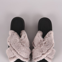 Qupid Crisscross Faux Fur Slide Sandal