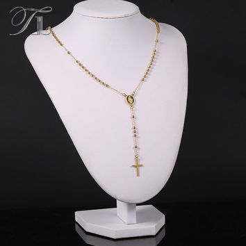 TL Small Thin Long Stainless Steel Chain Necklace Solid Gold Cross Pendant Necklace Fashion Golden Metal Necklace Never Fade