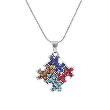 Autism Awareness 4 Color Jigsaw Puzzle Piece Crystal Necklace