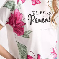 White Floral Print Short Sleeve Graphic Tee