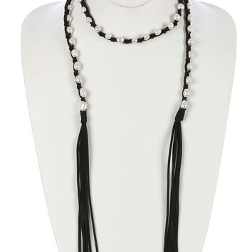 Black Knotted Faux Suede Pearl Wraparound Necklace