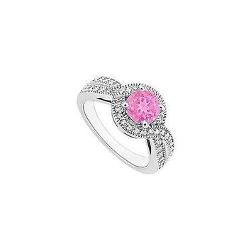 Pink Sapphire and Diamond Halo Engagement Ring : 14K White Gold - 1.33 CT TGW