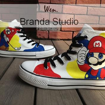 Super Mario Children's Shoes,Studio Hand Painted Shoes 49 Usd,Paint On Custom Converse