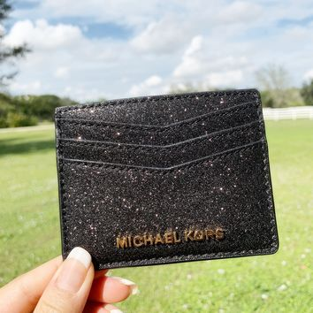 Michael Kors Giftables Large Card Holder Black Glitter