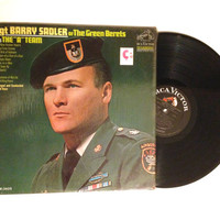 FALL SALE Ssgt Barry Sadler Sings The A Team Lp Album 1966 Little Bird Of Vietnam Chains On A Man Vinyl Record