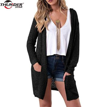 2018 Hooded Knitted Cardigan Boho Loose Pockets Hollow Out Long Sleeve Women Sweater Female Cardigans Women Coats Outerwear