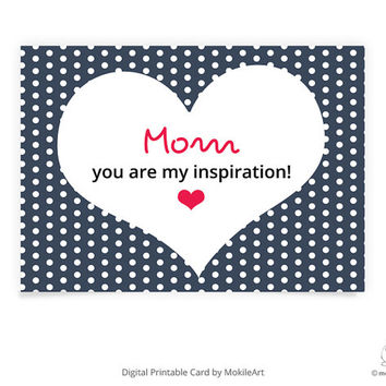 Instant Download ,printable mother day card ,Red Heart of love, Digital file ,5x7 inch,mokileartDigital file,mokileart