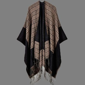 Vintage Women Knitted Shawl Poncho Faux Cashmere Plaid Check Tassel Oversized Warm Long Winter Cape