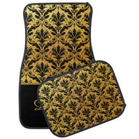 Elegant Gold and Black Damask Monogram Car Mats