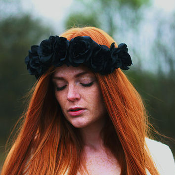 Sister of the Moon - Flower Crown / Floral Crown / Flower Halo / Flower Headband / Festival Wear / Black Rose
