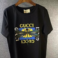 GUCCI Letter Prints Round Collar Short Sleeve T-Shirt