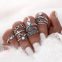 10pcs/Set Gold Color Flower Midi Ring Sets for Women Silver Color Boho Beach Vintage Turkish Punk Elephant Knuckle Ring 0527