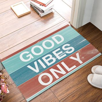 Autumn Fall welcome door mat doormat Fabric & Non-Slip s - Colorful Wood Texture Good Vibes Only Decorative  Indoor/Outdoor  AT_76_7