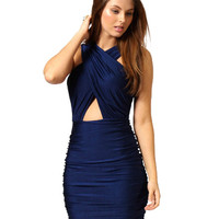 Cross Cutout Front Ruched Bodycon Mini Dress
