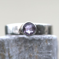 1 Boho Stacking Ring Sterling Silver Amethyst