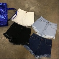 Empire Waist Distressed Denim Shorts