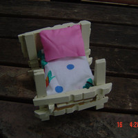 Mini four poster bed clothes pins pillow cushion gift child collector OOAKHandmade  Toy