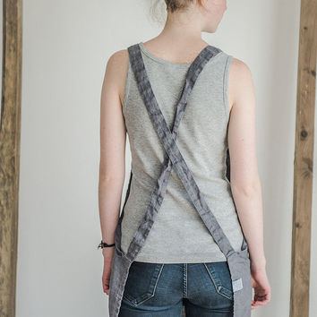 FREE WORLDWIDE SHIPPING! Short square cross linen apron. Washed dark grey/gray/graphite natural, eco - friendly, handmade linen apron.