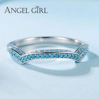 Angel Girl 925 Sterling Silver Turquoise Ring Female Casual Sporty Christmas Gift  For Women Brand Jewelry Ring New