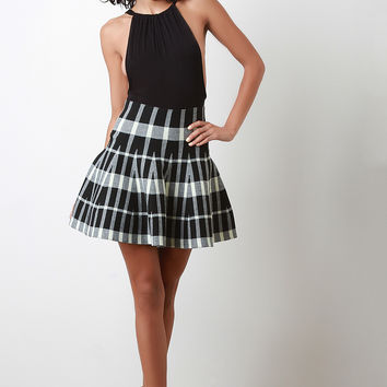 Checked Knit High Waist Yoke Circle Skirt