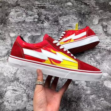 Vans X Revenge X Storm Old Skool Fashion Women Men Casual Canvas Flat Sneakers Sport Skateboard Shoes Red/Flame I-AHXF