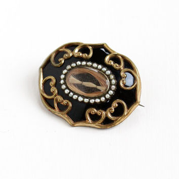 Sale- Antique Gold Filled Victorian Black Enamel & Seed Pearl Hair Mourning Brooch - Mid 1800s Rare Jewelry