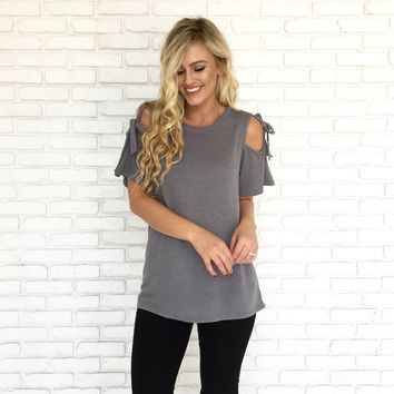 Bows & Whistles Top in Grey