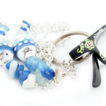 Eyeglass Lanyard, Beach Lanyard, Ocean Lanyard, Beaded Lanyard, Eyeglass Holder Necklace, Eyeglass Leash, Eyeglass Chain, ID Lanyard