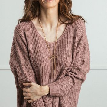 Terri Knit V-Neck Pullover Sweater