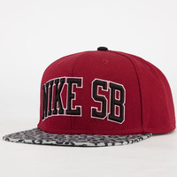 Nike Sb Leopard Pro Mens Snapback Hat Red One Size For Men 23208430001