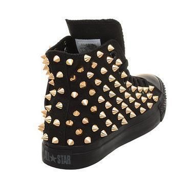 studded converse converse all black high top with gold cone rivet by customduo on ets