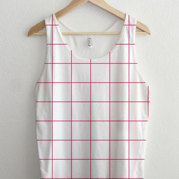 Magenta Pink Essential Grid Shirt Full Print Unisex Tank Top
