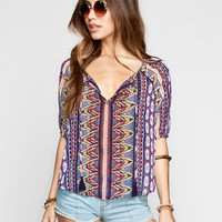 Patrons Of Peace Mixed Print Womens Top Purple  In Sizes
