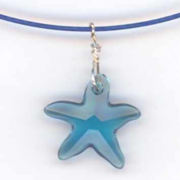 Light Blue Crystal Star Pendant with Cable Choker by Lehane
