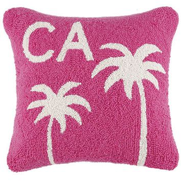 California Palm Trees Pink Throw Pillow
