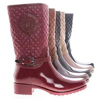 Cody22K By Link, Children Girls Mid Calf Zip Up Quilted Emblem Shaft Rain Boots