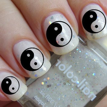 Nail Art Decals 74 YINYANG Clear and Black by NorthofSalem on Etsy