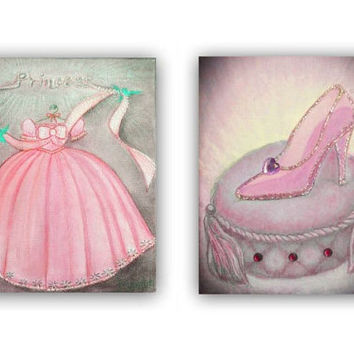 Princess pink cinderella wall art prints for girls nursery room decor, Princess dress art, Girl nursery art, Princess shoe, nursery decor
